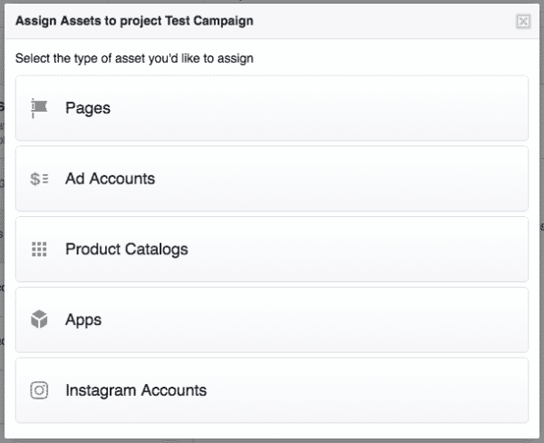 facebook business manager-assign assets to new project