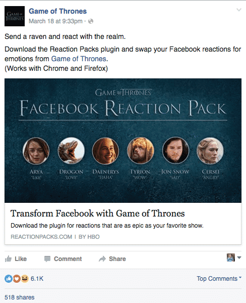 Innovative Way To Grab Engagement By Game of Thrones Facebook Page