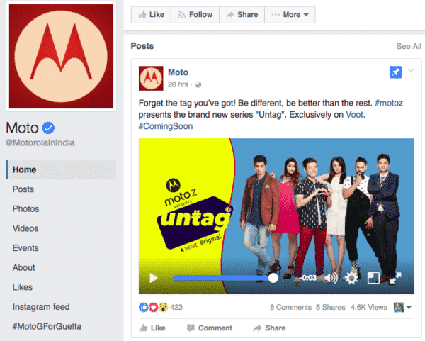 6 Amazing Facebook Pages To Get The Right Social Media Strategy Facebook  Motorola-1-600x481