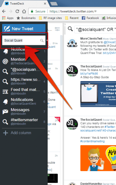 tweetdeck search bar