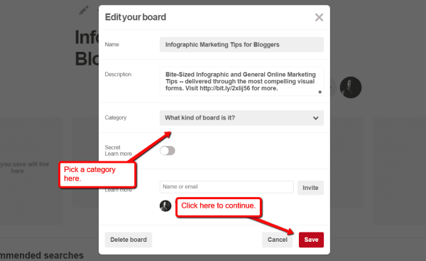 How to Use Infographics on Pinterest to Get More Website Traffic Infographics  Edit_Board_Settings-600x367
