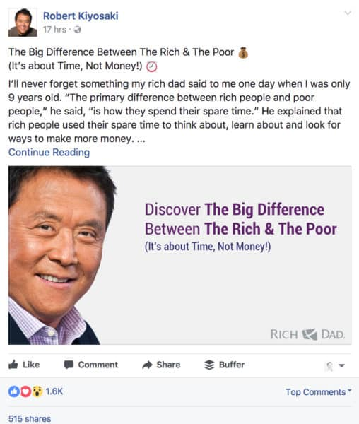 How to Boost Sales with Social Media Storytelling Content Marketing  robert-kiyosaki-508x600