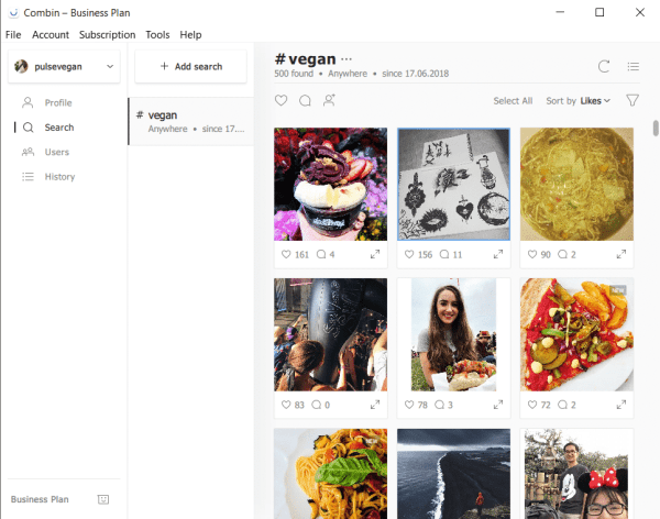 instagram marketing tool combin hashtag search results