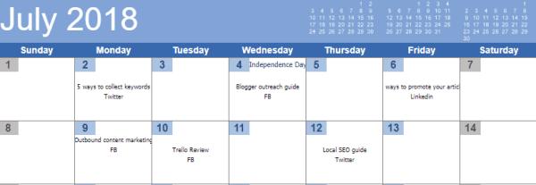social media sharing calendar