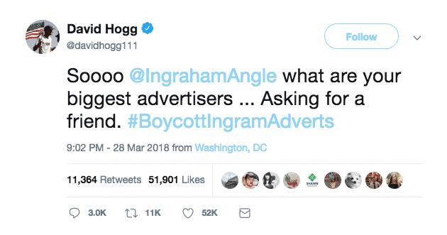 David Hogg replies to Ingraham tweet