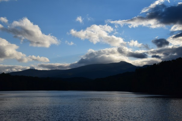 Price Lake, just off the Blue Ridge Parkway, as the sun drops behind Grandfather Mountain.