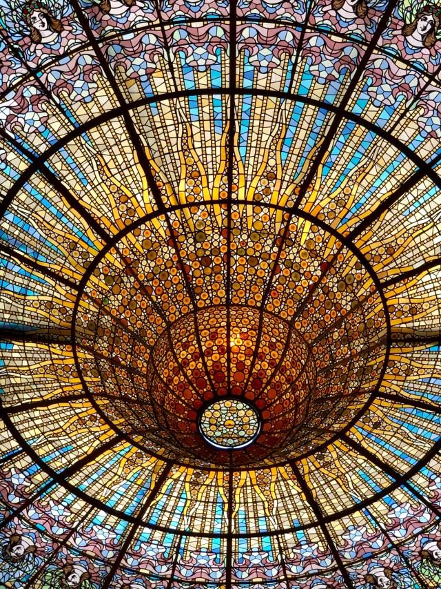 Stained glass ceiling at Barcelona's iconic El Palau de la Música Catalana.