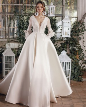 lace, tulle, crepe, satin, belt, plus size, Maxims wedding, gown, dress, wedding, A line, Mermaid, Boho, Princess, Ariamo, new collection 2022