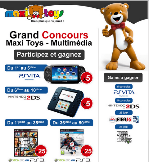 jeu concours maxi toys multim dia 10 consoles ps vita et nintendo 2ds 50 jeux remporter. Black Bedroom Furniture Sets. Home Design Ideas