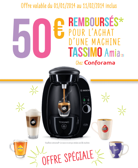 conforama tassimo 9 96 apr s offre de remboursement maximum chantillons. Black Bedroom Furniture Sets. Home Design Ideas