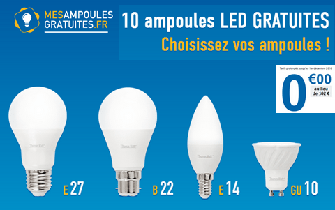 1 packs de 10 ampoules led offert maximum chantillons. Black Bedroom Furniture Sets. Home Design Ideas