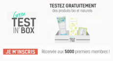 Bon plan gratuit Green Test'in Box : 5000 Box de 3 échantillons offertes
