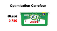Carrefour : Lessive Ariel Pods 3en1 à 0.78€ au lieu de 10.95€ (Optimisation)