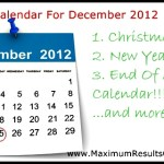 Looking Ahead – Marketing Calendar December 2012