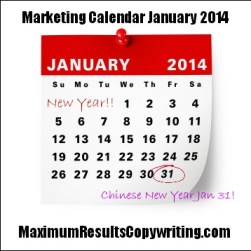 Marketing Calendar For January 2014