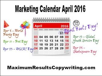 Marketing Calendar April 2016