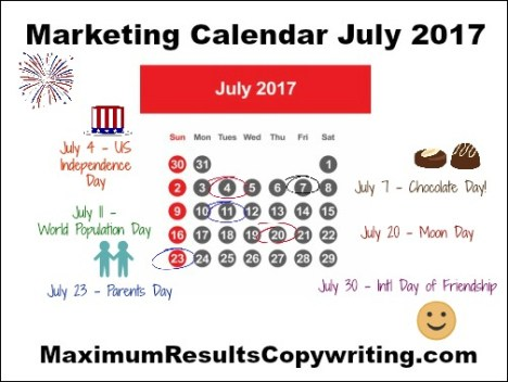 Looking Ahead - Marketing Calendar July 2017 -