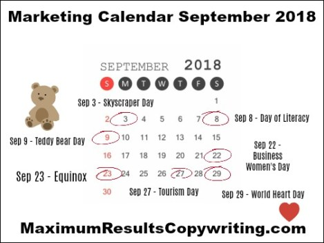 looking ahead marketing calendar september 2018