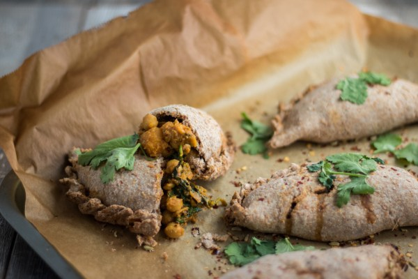 Chana Saag Pasties (Spicy Chickpea, Spinach and Sweet Potato)