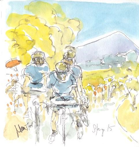 Movistar team head for the hill
