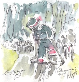 Cycling art, Tour de France, watercolour pen and ink painting, Where are they? by Maxine Dodd