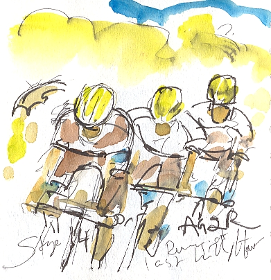 Cycling art, Tour de France, watercolour pen and ink painting, AG2R running for the last hill! by Maxine Dodd