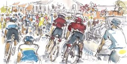 Cycling art, Tour de France, watercolour pen and ink painting, Taking the bend, by Maxine Dodd