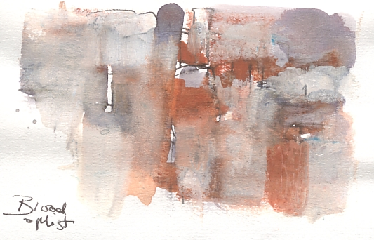 Blood and mist, study in pen, ink and watercolour