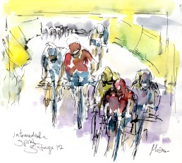 Cycling art, Tour de France, Watercolour painting Intermediate sprint, by Maxine Dodd