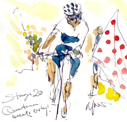 Cycling art, Tour de France, Watercolour painting Quintana breaks early, Stage 20, by Maxine Dodd