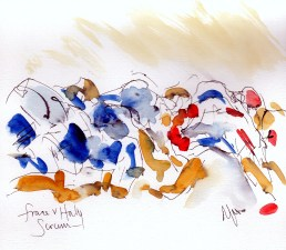 Six Nations: France v Italy scrum by Maxine Dodd, watercolour, pen and ink
