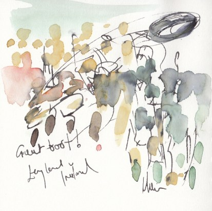 Rugby art, Six Nations: Great boot! England v Ireland by Maxiine Dodd