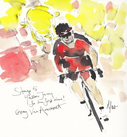 Tour de France, cycling art, Yellow Jersey for the first time! Greg Van Avermaet, by Maxine Dodd
