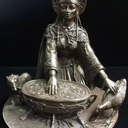 Front: Cerridwen Celtic Crone Goddess of Wisdom Statue Cold Cast Bronze by Maxine Miller ©Maxine Miller