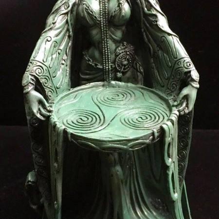 FRONT 1: DANU Celtic Water Goddess Statue Green Bronze Resin by Mazine Miller © Maxine Miller