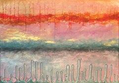 """FIRE SUNSET"" 16X20"" by Maxine Orange, textured surrealist landscape http://etsy.me/2aOSBB7"