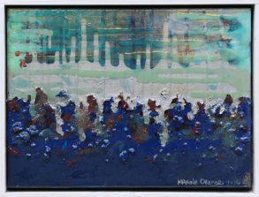 """Underwater Beach"" 9x12"" mixed media w/ floater frame"