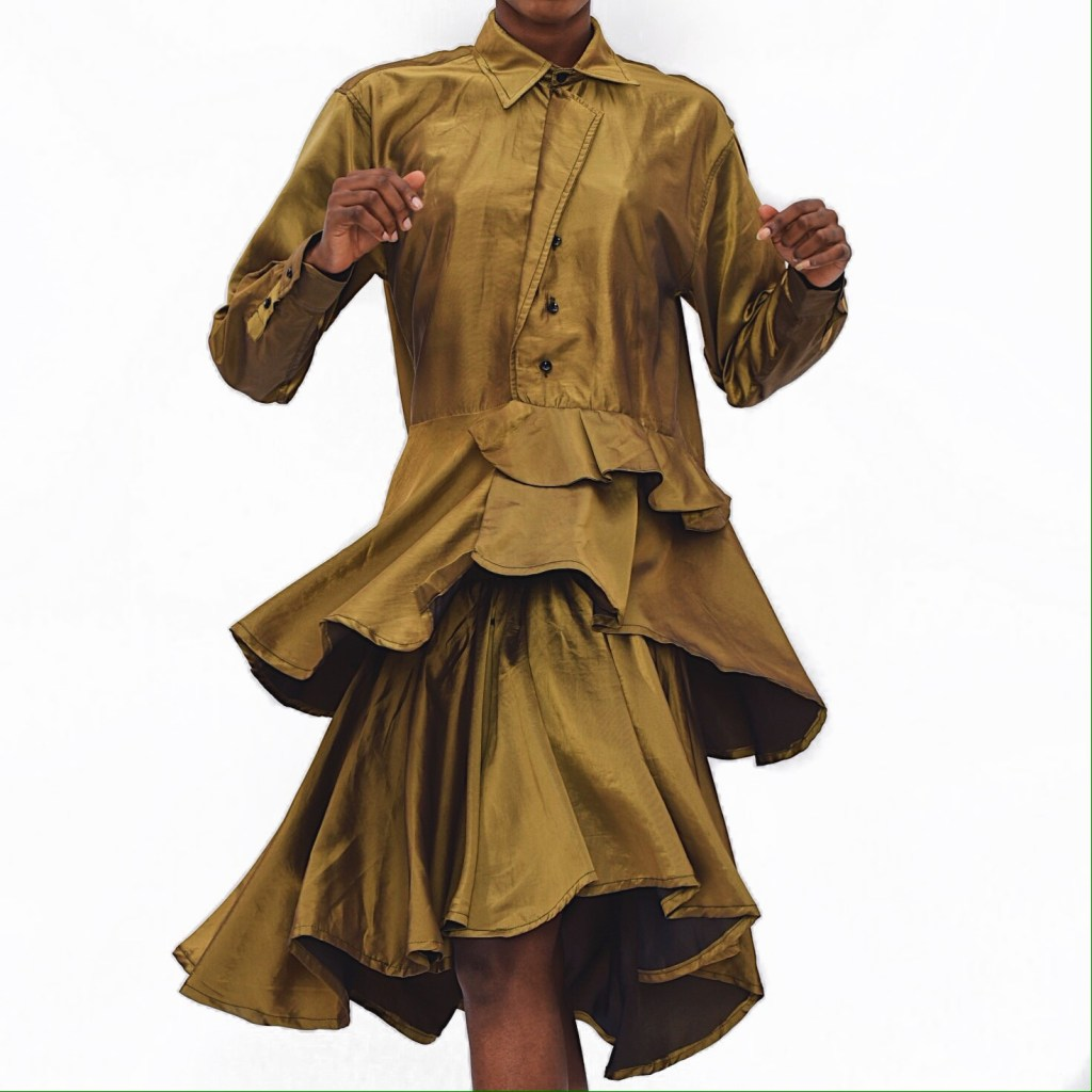 Gold Flare Shirt and Skirt