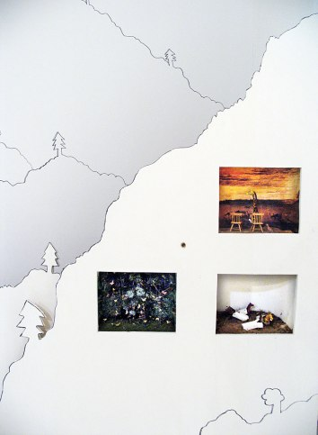 Detail of installation with miniature dioramas