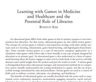 Frontpiece image of an article by Bohyun Kim for an article she wrote called Learning with Games in Medicine and Healthcare and the Potential Role of Libraries
