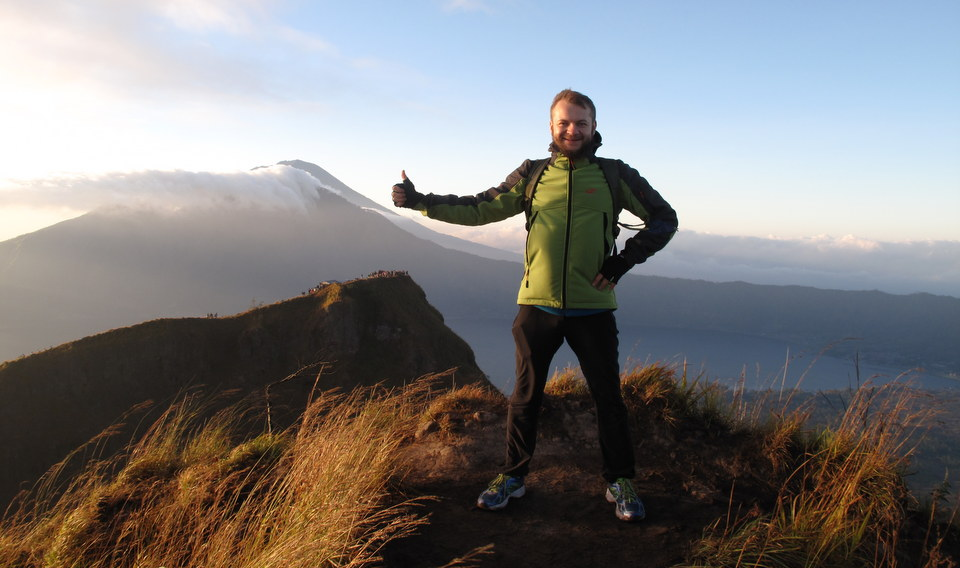 Maxon on the top of Batur volcano