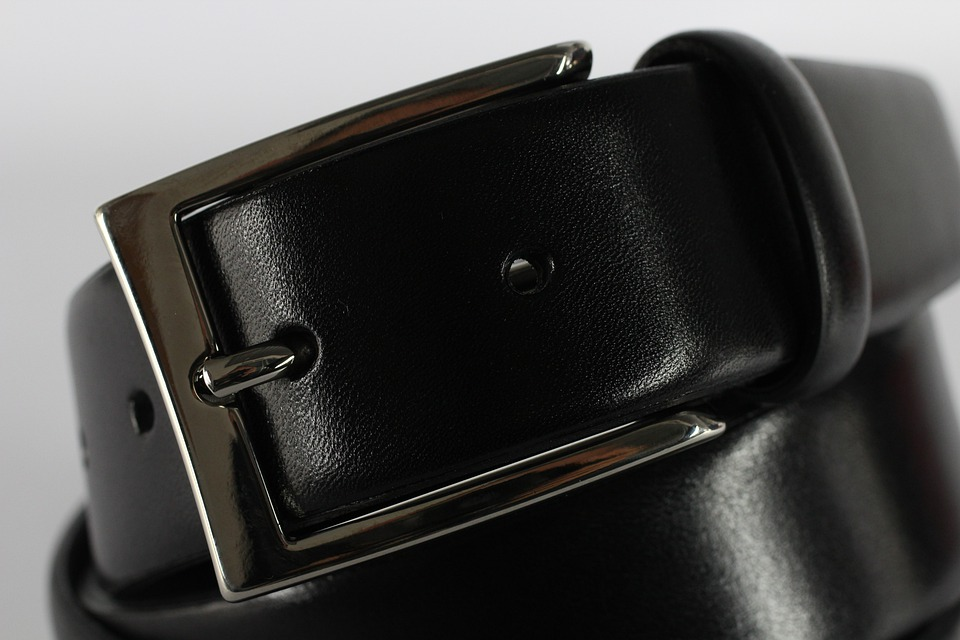 Black leather belt with metal buckle.