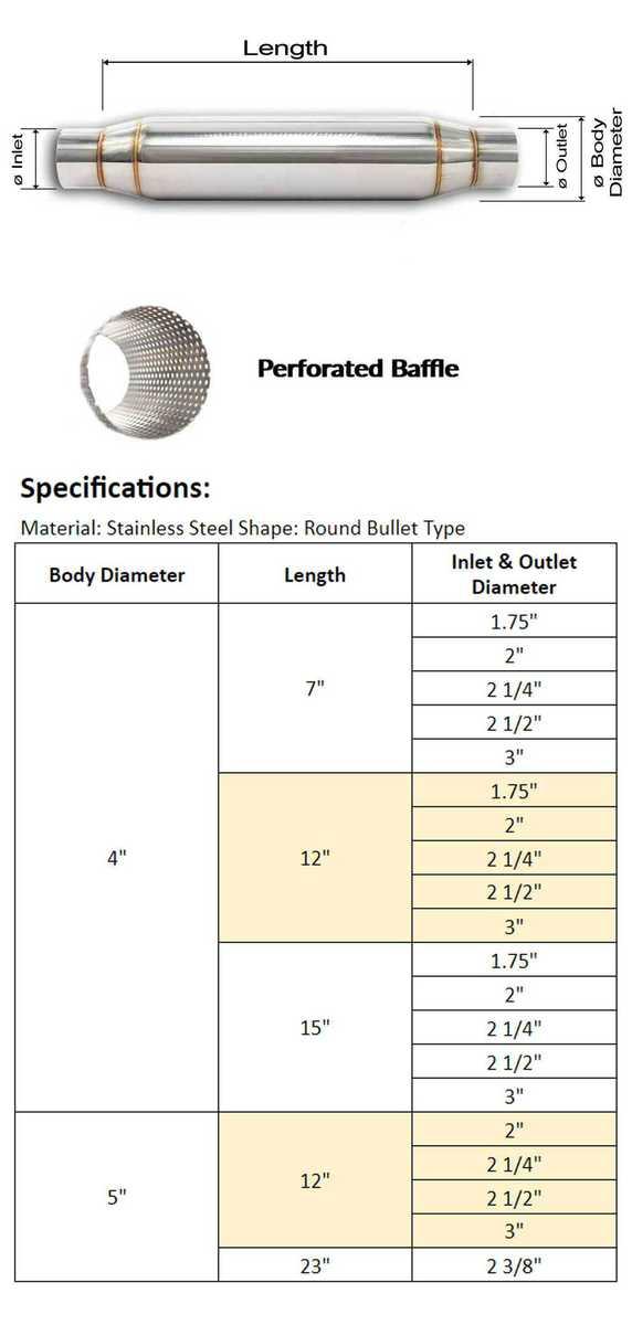 bsd straigh flow resonator bullet center muffler midpipe 1