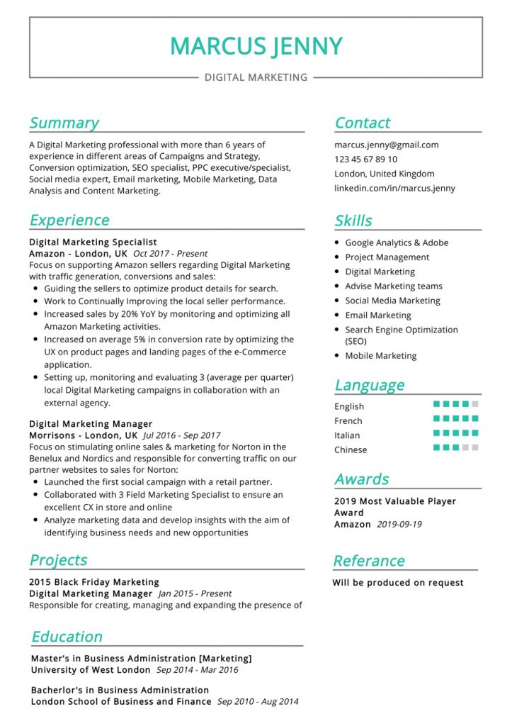 They should be adept in web content management, and have a strong working knowledge of … Digital Marketing Resume Example 2020 Maxresumes