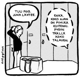 Late ja kumppanit * on vapaamuotoinen sarjisporukka, joka myy kimpassa pienlehtiään ja omakustanteitaan Suomen sarjisfestareilla ja julkaisee nykyään omaa sarjakuvalehteä Vastatuulen saluuna, josta ilmestyy ensi viikolla jo kolmas numero * porukan töitä ja muita kuulumisia löytää fb:sta nimellä Late ja kumppanit * s-posti on sarjis.late@gmail.com nnlpplnn elikäs minä * teen sarjakuvaa ja muuta kuvaa, toisinaan tekstiäkin, painopisteen vaihdellessa; takkia ajatellen lähetin ruudun Kaakelin viemää -stripistä, tuorein omakustanteeni Entä sitten, kun en itse enää pysty? käsittelee puolestaan hoitotahdon pohdintaa * töitäni löytää mm. sarjisblogistani katupolya-ja-pilvilinnoja.sarjakuvablogit.com ja instasta@nnlpplnn * s-posti tuo sama sarjis.late@gmail.com Marko Lappalainen * käsikirjoittaa paraikaa jatkoa sarjakuva-albumille Johanneksen 1. kirja, jonka päähenkilöstä myös kuva takkia varten * koko Johanneksen 1. kirjan voi lukea Laten ja kumppanien fb-sivulta s-posti tuo sama sarjis.late@gmail.com