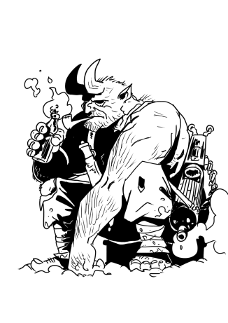 Tuomas Myllylä on piirtänyt ja julkaissut realistista seikkailusarjakuvaa vuosikymmenen ajan. Usein historiasta ja mytologiasta ammentava tekijä on parhaiten tunnettu viikinkiajan suomeen sijoittuvasta Pakanat-albumisarjastaan. Asuun valikoitunut kuva on Trollpatrol-sarjakuvasta, joka on vaihtoehtohistoriaa suomalaisittain käsittelevää sarjakuvaa, missä maagiset ja mytologiset olennot elävät rinta rinnan ihmisten kanssa. Trollpatrolin tapahtumat sijoittuvat Talvi-jatkosotaan, jossa maamme myyttiset olennot osallistuvat sotaponniseluihin muiden lailla.