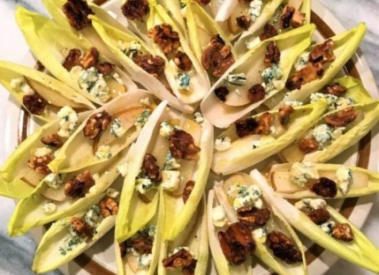 Endive Boats with Caramelized Walnuts, Blue Cheese, and Asian Pear