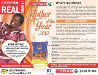 spar zimbabwe mother of the year 2013