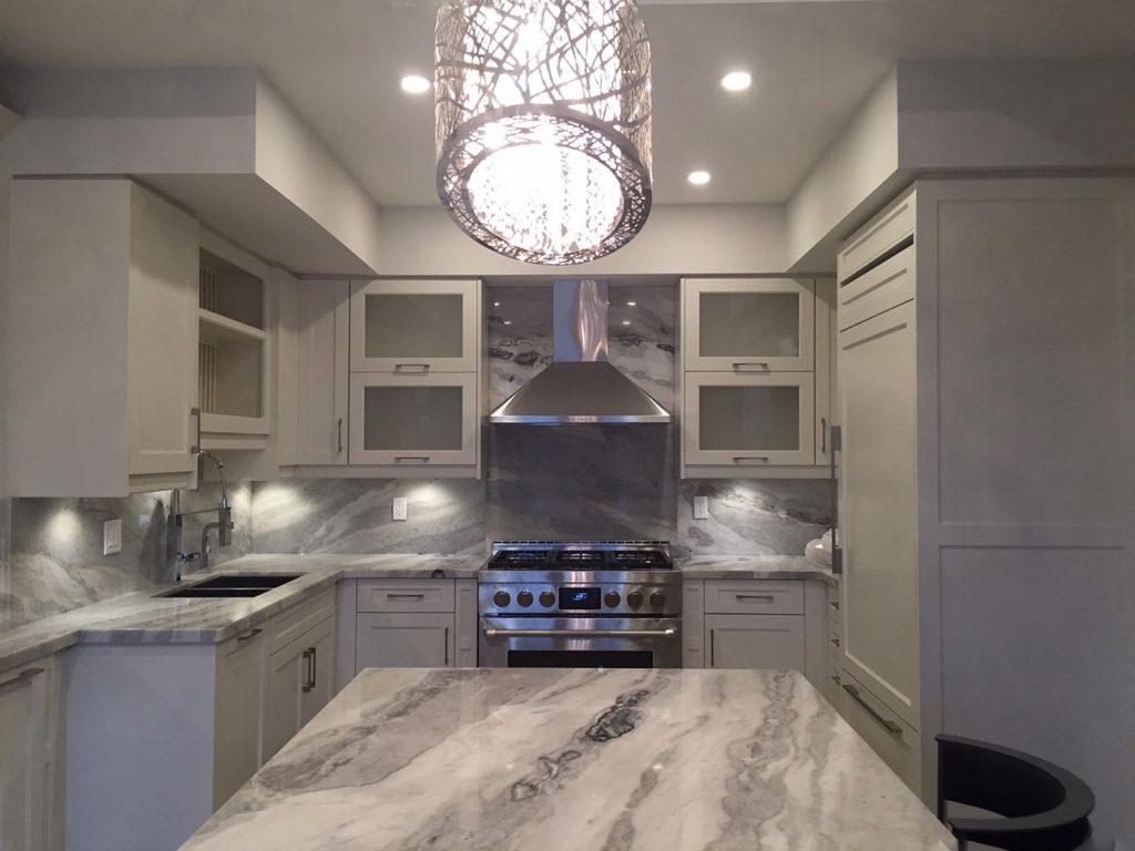 Mont Blanc Quartzite Kitchen And Full Backsplash MaxSpace Stone Works