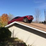 Ford Mustang Drives onto Roof